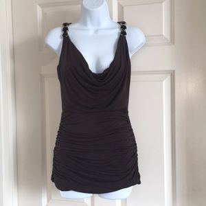 Sky dark brown Shirred drape neck jeweled top